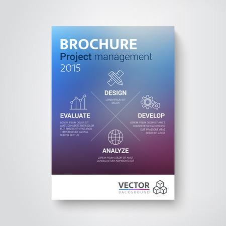 Brochure with the concept of project management with unfocused background Vettoriali