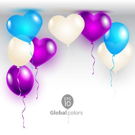 Vektor-Illustration Valentinstag-Karte mit Luftballons Form Herzen. Mitteilung / Poster / Flyer / Grußkarte Standard-Bild - 36549999