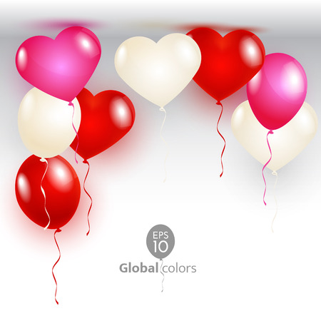 Vector illustration Valentines Day card with balloons shape heart. Announcement / poster / flyer / greeting card
