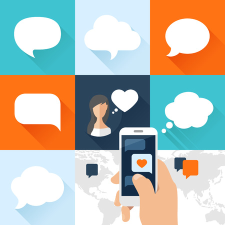 Speech bubbles set and smartphone with love message in flat design. Vector illustration Vettoriali