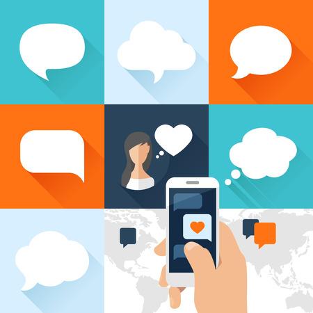 Sprechblasen gesetzt und Smartphone mit Liebe Nachricht in flacher Bauform. Vektor-Illustration Standard-Bild - 36752093