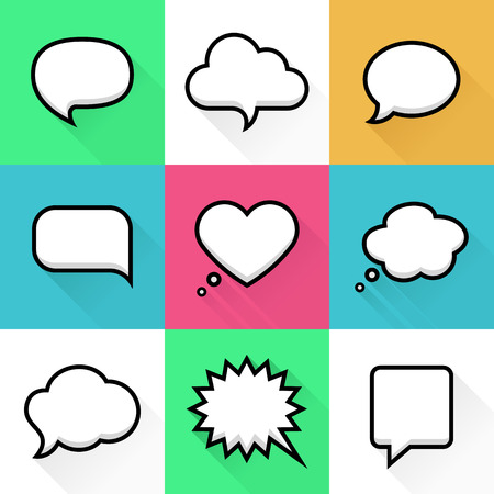 Speech and thought bubbles with space for text in flat line style. Elements website, mobile applications