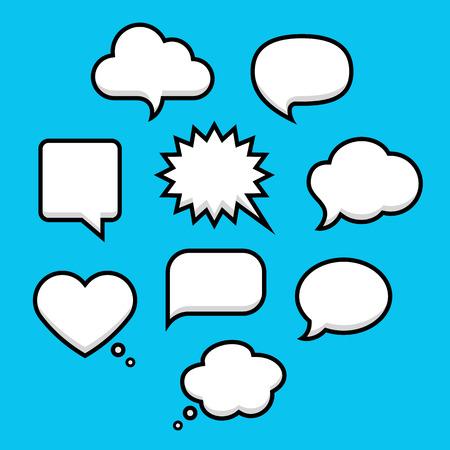 Sprech- und Denkblasen mit Platz für Text in flachen Linienstil. Elemente Website, mobile Anwendungen Standard-Bild - 36874480