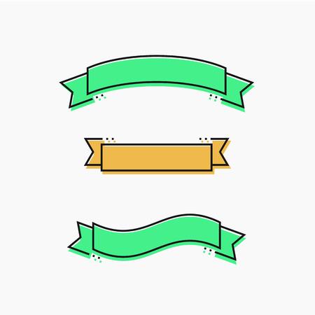 フラットなデザインでモダンなリボンは細い線です。ベクトル図  イラスト・ベクター素材