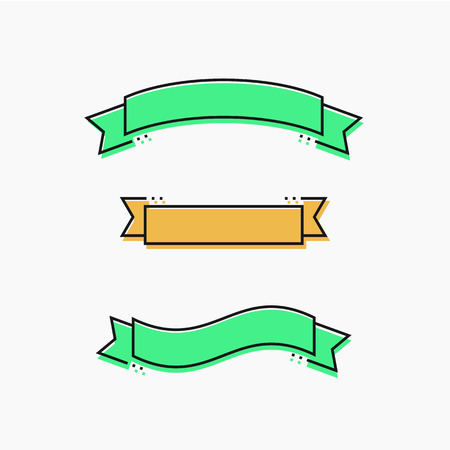 Modern ribbons in flat design thin line. Vector illustration