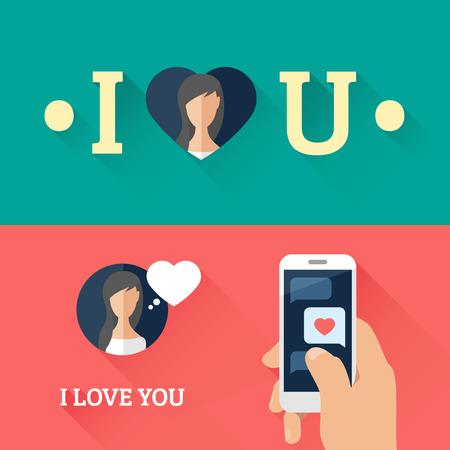 ロマンチックな音声バブル心とスマート フォンをフラットなデザインのメッセージが大好きです。ベクトル図