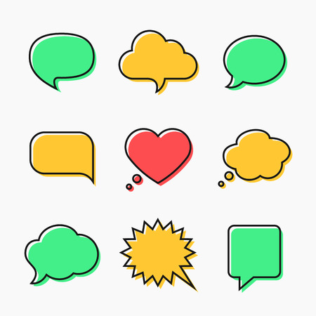 Sprech- und Denkblasen mit Platz für Text in flachen Linienstil. Elemente Website, mobile Anwendungen Standard-Bild - 37145953