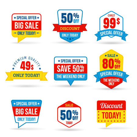 Collection of Sale Discount in flat design. Use for labels, stickers, labels and icons Vettoriali