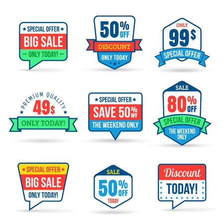 Collection of Sale Discount in flat design. Use for labels, stickers, labels and icons 일러스트