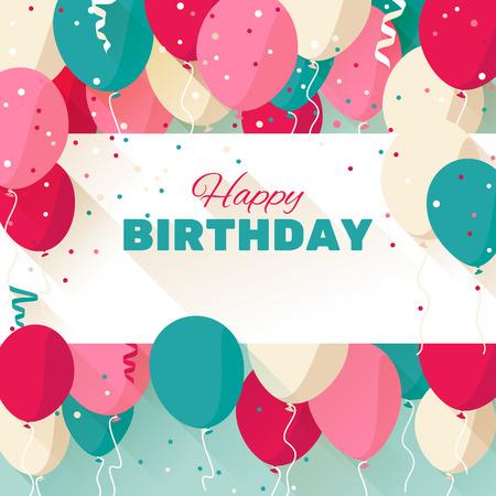 Alles Gute zum Geburtstag Grußkarte in einem flachen Stil Standard-Bild - 37240776