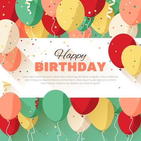 Alles Gute zum Geburtstag Grußkarte in einem flachen Stil Standard-Bild - 37241694