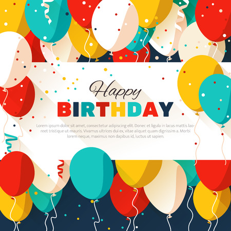 birthday celebration: Happy Birthday greeting card in a flat style