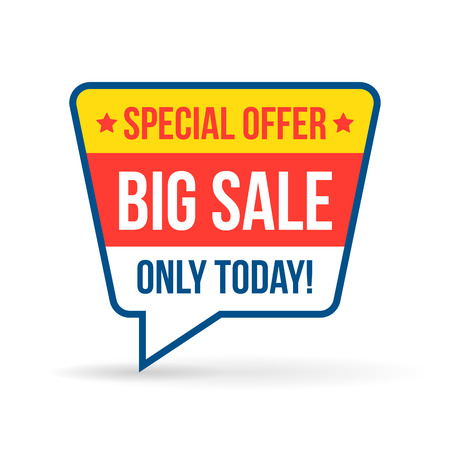 Big sale tag for online shop in flat design. Use on labels, stickers and icons