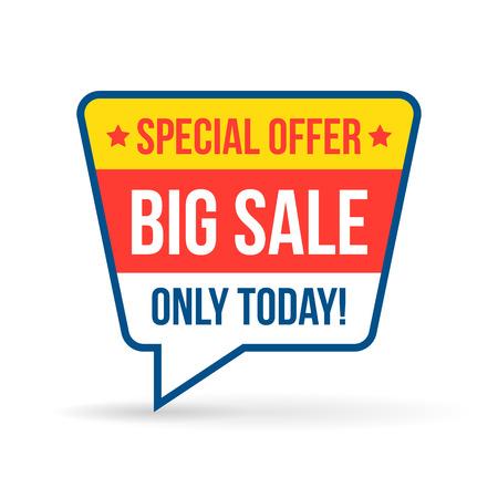 Big Verkauf Tag für die Online-Shops in flacher Bauform. Verwenden Sie für Etiketten, Aufkleber und Symbole Standard-Bild - 37607134