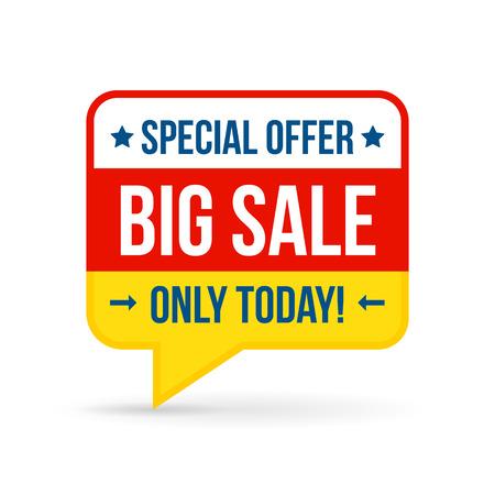 Big Verkauf Tag für die Online-Shops in flacher Bauform. Verwenden Sie für Etiketten, Aufkleber und Symbole Standard-Bild - 37607136