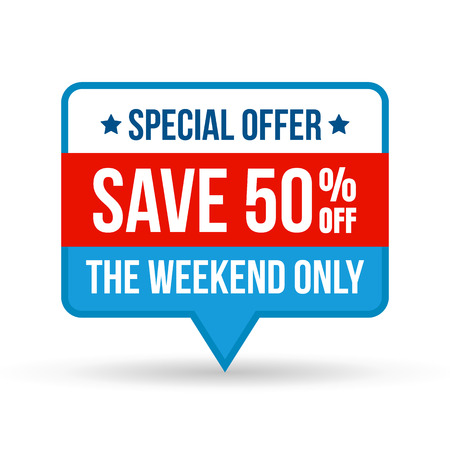 Special offer save tag for online shop in flat design. Use on labels, stickers and icons