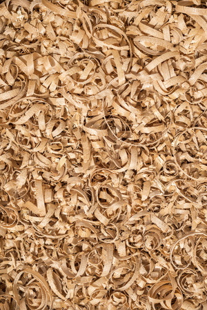 Close up view of planar wooden shavings