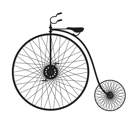 spoke: Silhouette of an old bicycle on white background  Illustration