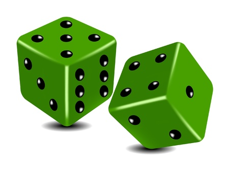 2 objects: Green playing dice  Illustration