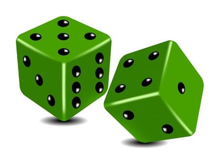 kostky: Zelená hrací kostky Ilustrace