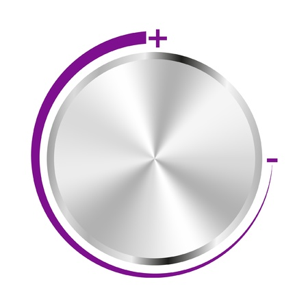 volume knob: Chrome volume with purple scale on white background