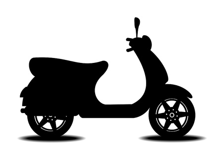 moped: Silhouette of scooter on white background with shadow Illustration