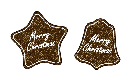Gingerbread christmas cookies (star and bell)  Vector