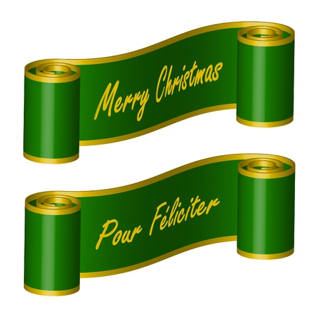 curled: Ribbon in green colour with words – Merry Christmas, Pour Féliciter Illustration