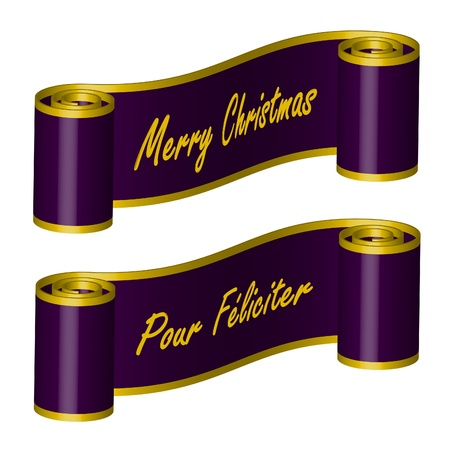 Purple Ribbon – Merry Christmas, PF Stock Vector - 10443539