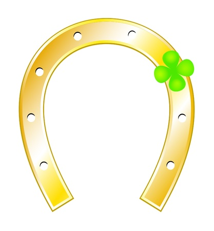 good fortune: Lucky charms - Horseshoes and clover with four leaf