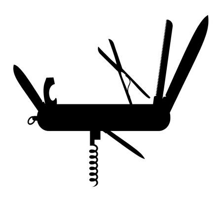 ouvre boite: Silhouette de multi-outil de l'instrument (couteau) Illustration