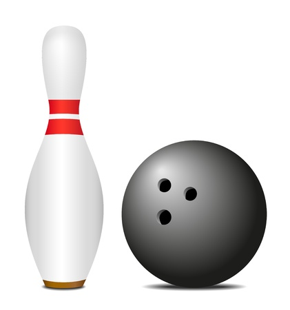 bowling pin: Skittle (pin) with black bowling ball  Illustration