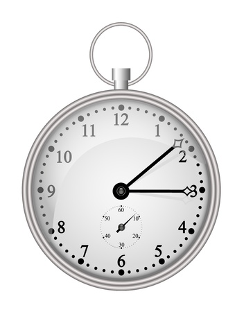 timer: Silver pocket clock  Illustration