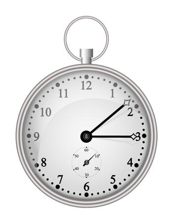 old timer: Silver pocket clock  Illustration