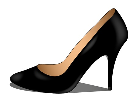 high heels woman: Luxury black shoe Illustration