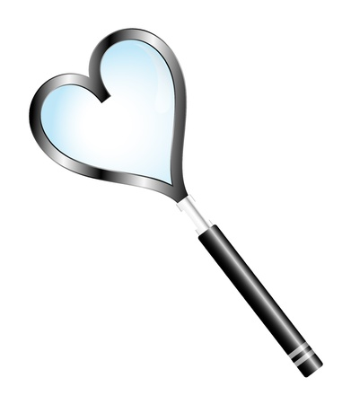 Magnifying glass with shape heart Stock Vector - 11060101