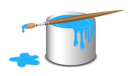 Seau de peinture bleue et d'une brosse