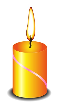 Candle with flame (fire) on white background Vector