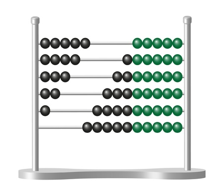 calculation: Abacus with black and green balls Illustration
