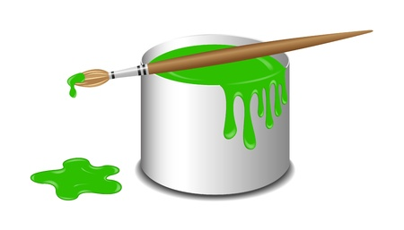 spilled paint: Bucket of green paint and a brush