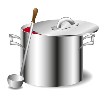 soup pot: Soup (sauce) in a pot  Illustration