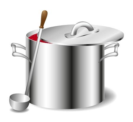 soup pot: Soup (sauce) in a pot  Illustration