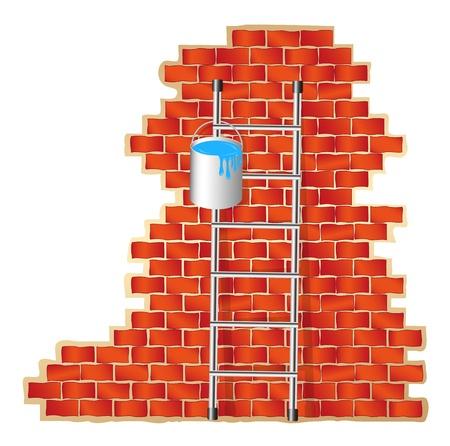 rungs: Escalera y muro de ladrillo Vectores