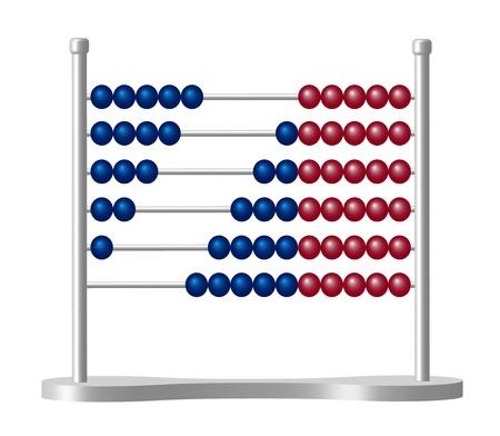 abaco: Abacus con bolas de color azul y rojo
