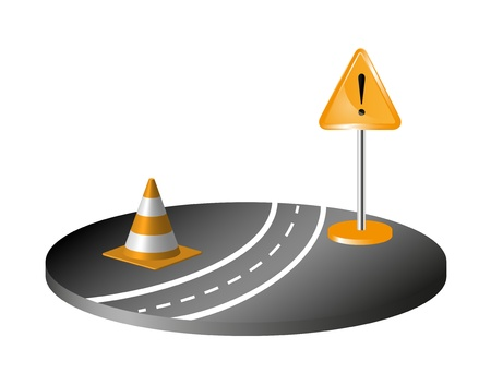 road marking: Road with sign and orange cone Illustration