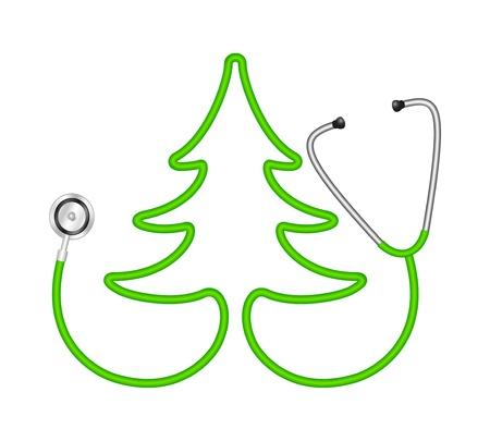 emergencia medica: Estetoscopio en forma de �rbol Vectores