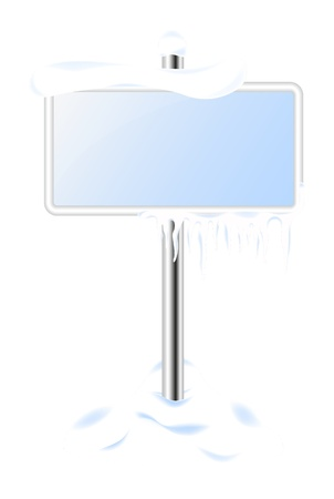 Frozen sign with icicles Vector