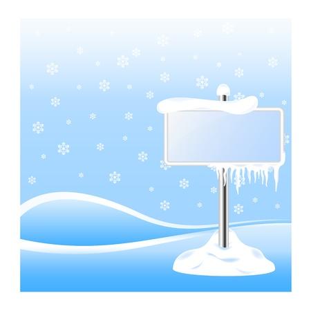 januar: Gefrorener Schild mit Eiszapfen an Winter Hintergrund