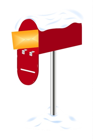 mailer: Red mailbox with letter covered in snow
