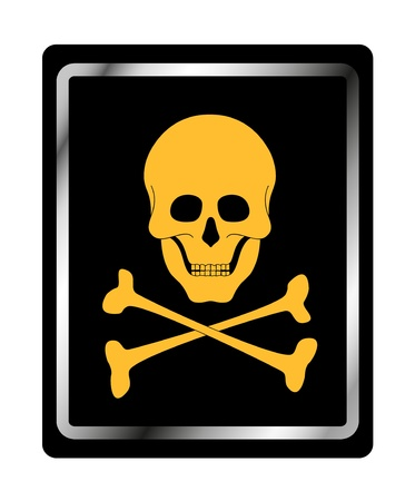 toxic substance: Danger sign with skull symbol  Illustration